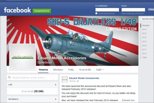 Společnost Eduard má na Facebooku řadu příznivců