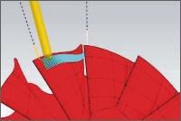 Dráha nástroje při obrábění tělesa turbíny