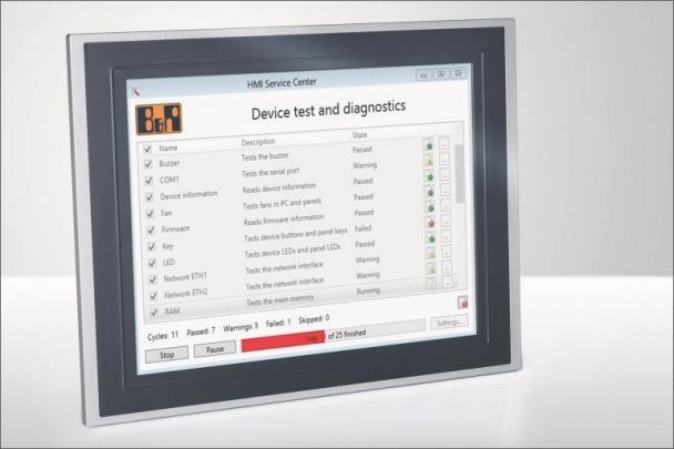 Software HMI Service Center společnosti B&R zobrazuje podporované testy počítače spolu s krátkým popisem a aktuálním stavem.