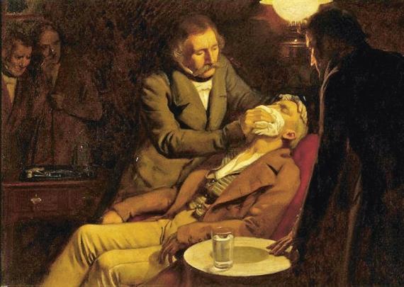 Malířova představa Mortonovy demonstrace anestesie 16. října 1846 /Zdroj: Ernest Board/