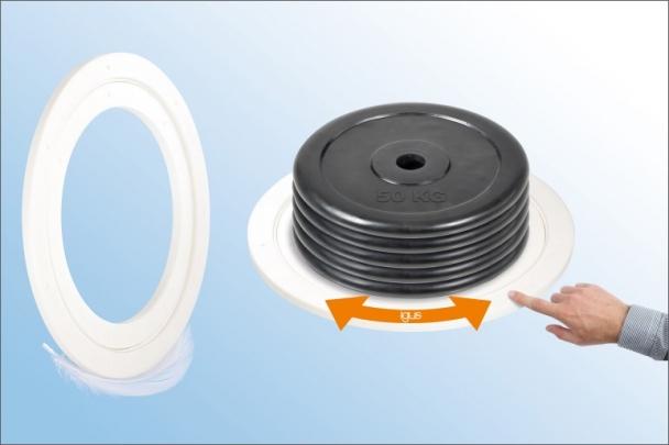 Aby bylo možné pohybovat s těžkými břemeny jednoduše rukou, vyvinul igus největší xiros plastový otočný stůl na světě. /Zdroj: igus/HENNLICH/