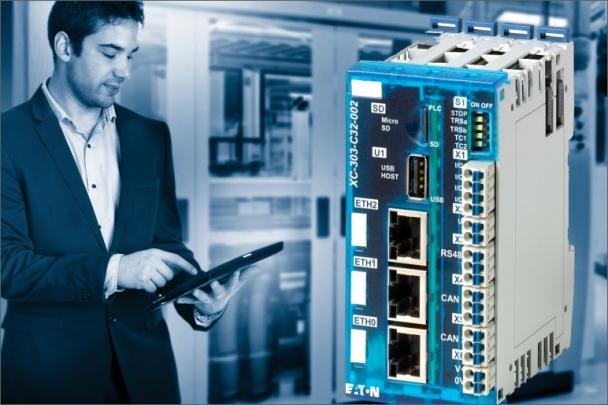 Řídicí jednotka XC300 v kombinaci se vzdálenými I/O XN300 vytváří kompaktní a prostorově úsporné řešení
