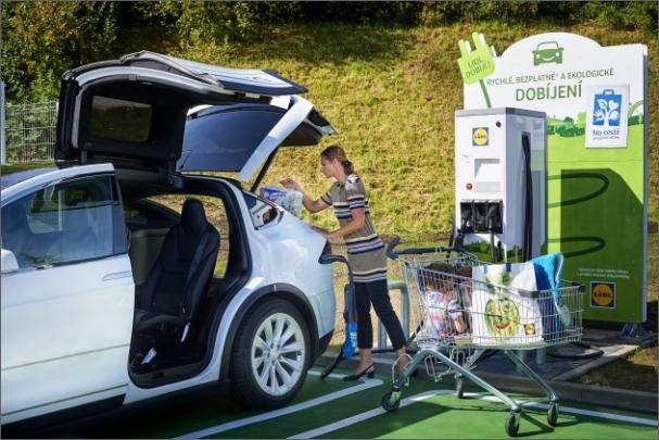Rychlonabíječka elektromobilů ABB nově u prodejny Lidl