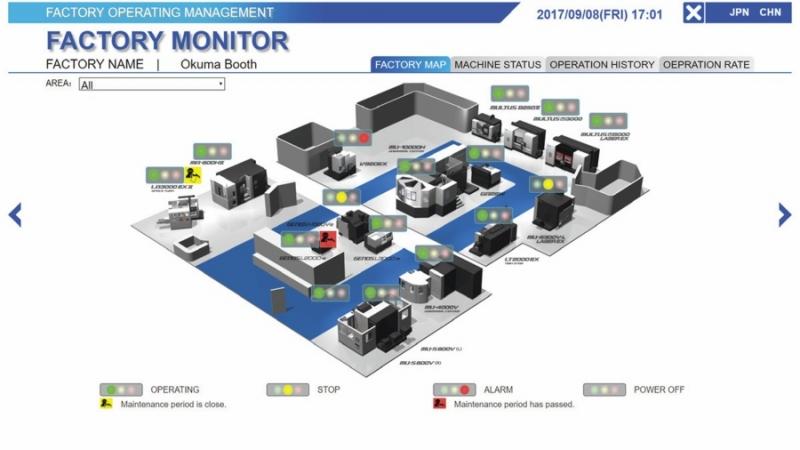 """Japonský výrobce obráběcích strojů Okuma prezentoval v Hannoveru svá řešení pro """"smart factory"""" pod názvem Connect Plan"""