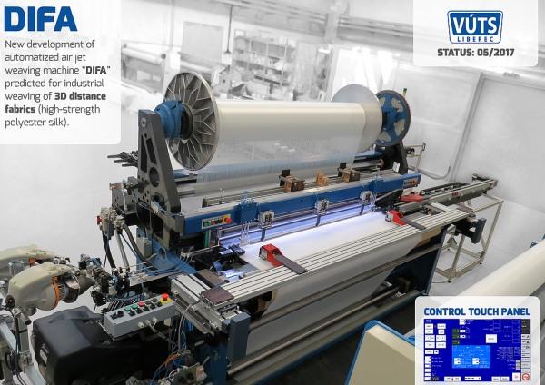 Prototyp nového unikátního stroje na 3D tkaniny