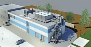 Vizualizace objektu: na střeše kontejnery s akumulátory, vzduchotechnika a zdroje chladu pro vzduchotechniku
