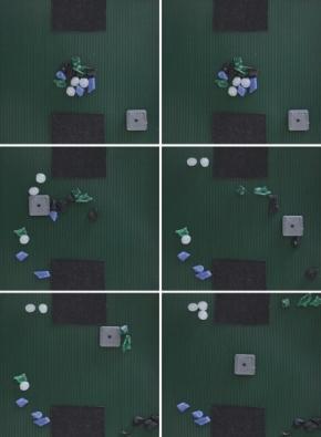 Ilustrativní ukázka třídění plastových částeček pomocí magneticky ovládaného robotu MagStriver vyvinutého na ZČU v Plzni. Obrázek představuje sekvenci snímků pořízených během třídění společně se zaznamenanou trajektorií pohybu robotu