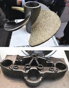 Ukázka výrobků nového navařovacího stroje firmy GEFERTEC, který navařuje díly z kovu pomocí elektrického oblouku (bez obrábění)