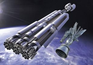 27 motorů rakety Falcon Heavy s návratovými moduly z projektu SpaceX