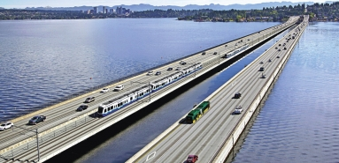Nový plovoucí silničně-železniční most v Seattlu