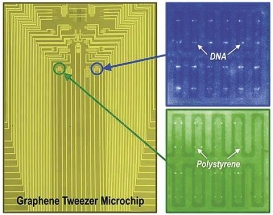 Grafenové pinzety dovedou uchopit jednotlivé velké molekuly