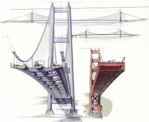 Rozměrové porovnání profilu projektovaného mostu Messina-Calabrie (vlevo) s profilem legendárního mostu Golden Gate (vpravo) ukazuje obrovský pokrok ve světové mostařině
