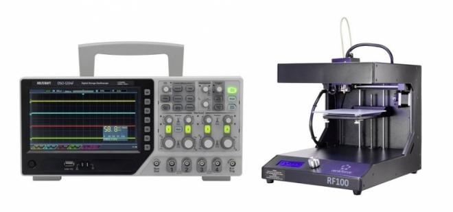 Digitální osciloskop VOLTCRAFT DSO-1204F a 3D tiskárna RF100 XL