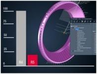 Spuštění simulace stroje pro NC program s více NC operacemi. Kroužek ventilu Verze 4.0 R4: 1 minuta, 12 sekund. Verze 4.0 R5: 9 sekund