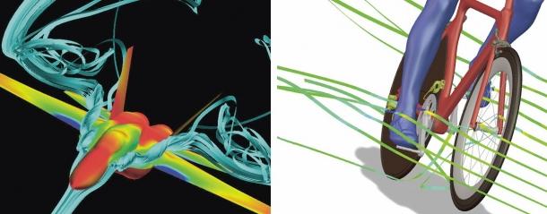 CFD analýza obtékání vzduchu bojové stíhačky F18 (vlevo) a kolem jízdního kola (vpravo – foto a svolení od firmy AN SYS Inc.)