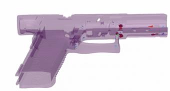 Obr. 3: Vizualizace porozity plastového rámu pistole