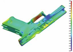 Obr. 4: Porovnání pomocí barevné mapy odchylek – STL vs. CAD