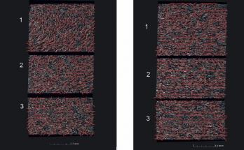Obrázek 11: Skutečné rozložení vláken, vlevo 0,2 mm a vpravo 1 mm pod povrchem.