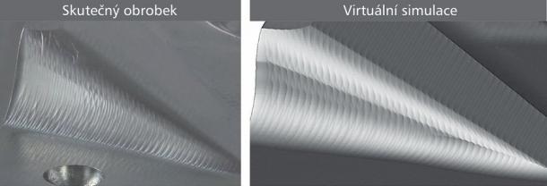 Obr. 5: Výsledky simulací virtuálního obrábění (vpravo) věrohodně zachycují stopy nástroje při skutečném obrábění (vlevo)