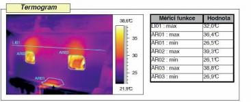 Obrázek 2: Rozložení teplot na výlisku