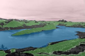Systém detekuje vodu (modrá), lesní porost (zelená) i oblohu (růžová)
