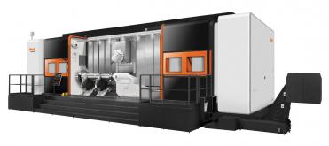 Stroj e-800H je navržen k obrábění velkých a těžkých dílů, jakými jsou například přistávací podvozky letadel a klikové hřídele motorů.