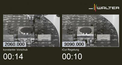 iCut dynamicky nastavuje posuv podle řezných podmínek. Tím lze zkrátit výrobní čas na každý obrobek a zvýšit spolehlivost procesu
