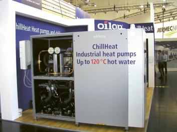 Průmyslové tepelné čerpadlo finské firmy Oilon s výstupní teplotou vody až 120 °C