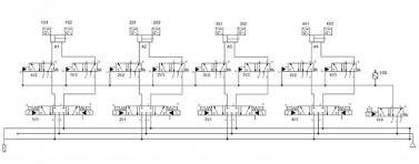 Obrázek 3: Pneumatické schéma ventilového terminálu se zónovou bezpečností, oddělující samostatnou zónu pomocí čtyř výkonových ventilů a jednoho pilotního ventilu pro dodatečné zastavení pohybu