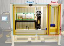 Obrázek 4: Ventilový terminál se zónovou bezpečností ASCO Numatics (zvýrazněn zeleně) odděluje dvě zóny v automatizovaném provozu