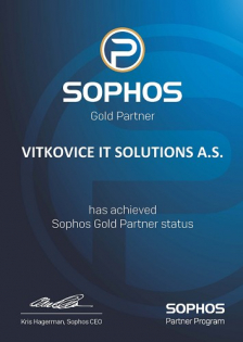 Certifikát Vítkovice IT Solutions Sophos Gold Partner