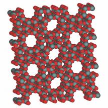 Molekulární struktura krystalové mřížky zeolitu /Zdroj: Wikipedie/