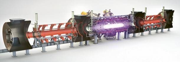 """Ilustrace předpokládaného fungování centrální komory fúzního zařízení společnosti TAE. Růžový """"doutník"""" je samotné plazma, modře jsou vyznačeny proudy urychlených iontů, které mají oblaku plazmatu dodávat správný tvar a rotaci, aby zůstalo stabilní /Zdroj: TAE/"""