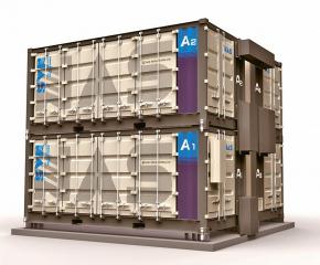 Bateriové systémy firmy NGK. Systém, který se vejde do čtyř kontejnerů, má maximální výkon 0,8 MW a celkovou kapacitu 4,8 MW /Foto: NGK/