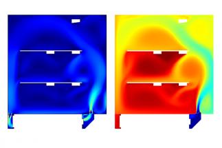 Takto vypadá zachycené proudění vzduchu s vývojem teploty v chladícím zařízení.