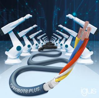 CFROBOT8.PLUS pro Ethernet: rychlý přenos dat pro 6osé roboty s více než 15 miliony torzních cyklů a úhlem až 360°. (Zdroj: igus/HENNLICH)