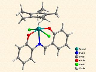 Molekulová struktura jednoho z diskutovaných komplexů tantalu. Autoři: Pavel Štarha, Zdeněk Trávníček, RCPTM