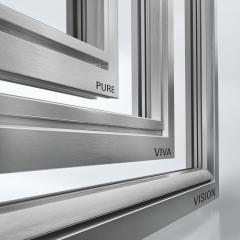 Sortiment hliníkových krycích lišt Schüco LivIng může být navržen v celé řadě barev a tvarů rámu.
