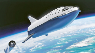 Ilustrátorova představa stroje Big Falcon Rocket společnosti SpaceX, jak ji firma představila v říjnu 2018