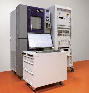 Teplotní komora CTS T40/100 (vlevo) a bateriový tester Chroma 17020 (vpravo) s průmyslovým PC (vpředu)