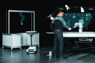"""Kolaborativní pracovní prostředí: Bionické pracoviště ve spolupráci s bionickým robotem BionicMotionRobot jako manipulátor """"pick-and- -place"""" a Robotino®"""