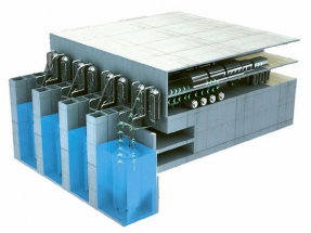 Takto by mohl vypadat podle představ konstruktérů malý jaderný zdroj složený z několika reaktorů AC P-100