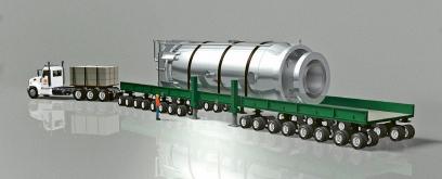 Ukázka možnosti dopravy malého tlakovodního reaktorového modulu společnosti NuScale s plánovaným výkonem cca 50 MWe