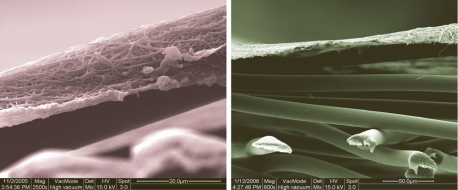 Nanovlákna pod elektronovým mikroskopem