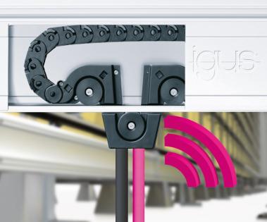 Rychlý a inteligentní: micro flizz® vede bezpečně energie, média a data v omezených prostorech i při vysokých rychlostech. Uživatelé mohou systém vybavit senzorem CF.D pro prediktivní údržbu. (Zdroj: igus/HENNLICH)