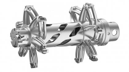 Snížení hmotnosti prostřednictvím aditivní výroby: nástroj vytištěný na 3D tiskárně má celkovou hmotnost 10,7 kg. Při poloviční hmotnosti splňuje požadavky na kvalitu povrchu, kruhovitost a přesnost vývrtu statoru.