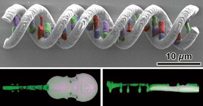 Struktury DNA z pěti různých materiálů, mikroskopické vícemateriálové violoncello a mikroskopické logo University of Maryland ze čtyř různých materiálů.