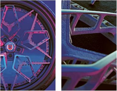 Ráfek a jeho detail vyrobený technologií kovového 3D tisku