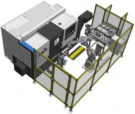 Robotické pracoviště na výrobu hliníkových pouzder