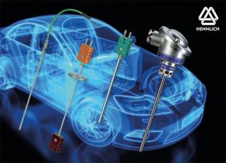 Odporová teplotní čidla a termočlánky s označením R58® vedle automobilového průmyslu spolehlivě fungují v řadě dalších průmyslových odvětví, například v ocelářství, sklářství, plastikářském průmyslu nebo energetice. (Zdroj: HENNLICH)